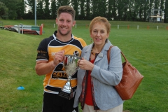 21. Fullback Matt Shepherd with no.1 fan and Chairman's mum Barbara Beach after the match
